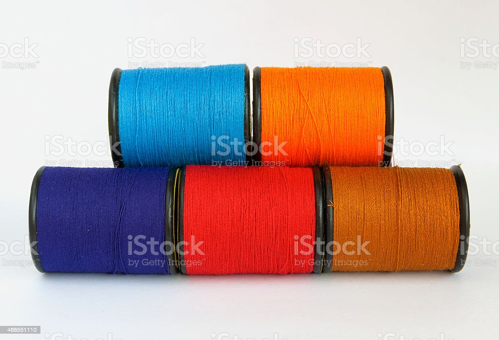 Group of colorful thread in spool royalty-free stock photo