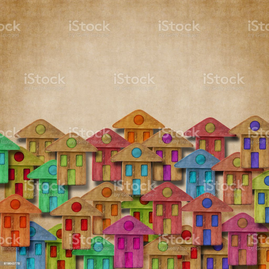 Group of colorful wooden houses - Build a new town concept image with copy space stock photo