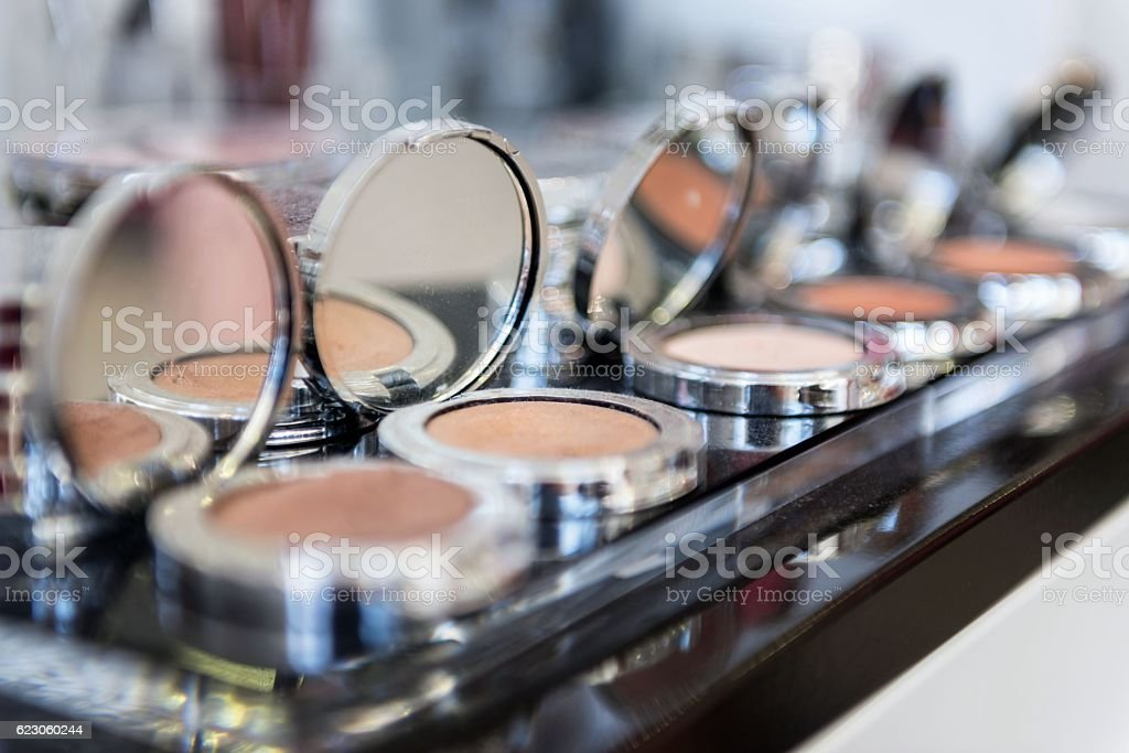 Group of compact make-up powders stock photo