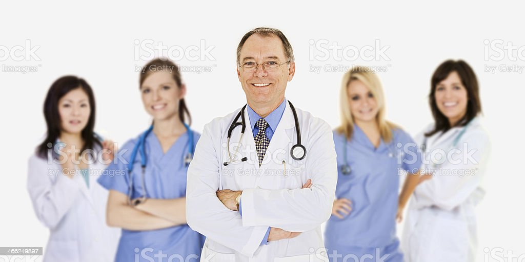 Group of confident doctors and nurses on a white background royalty-free stock photo