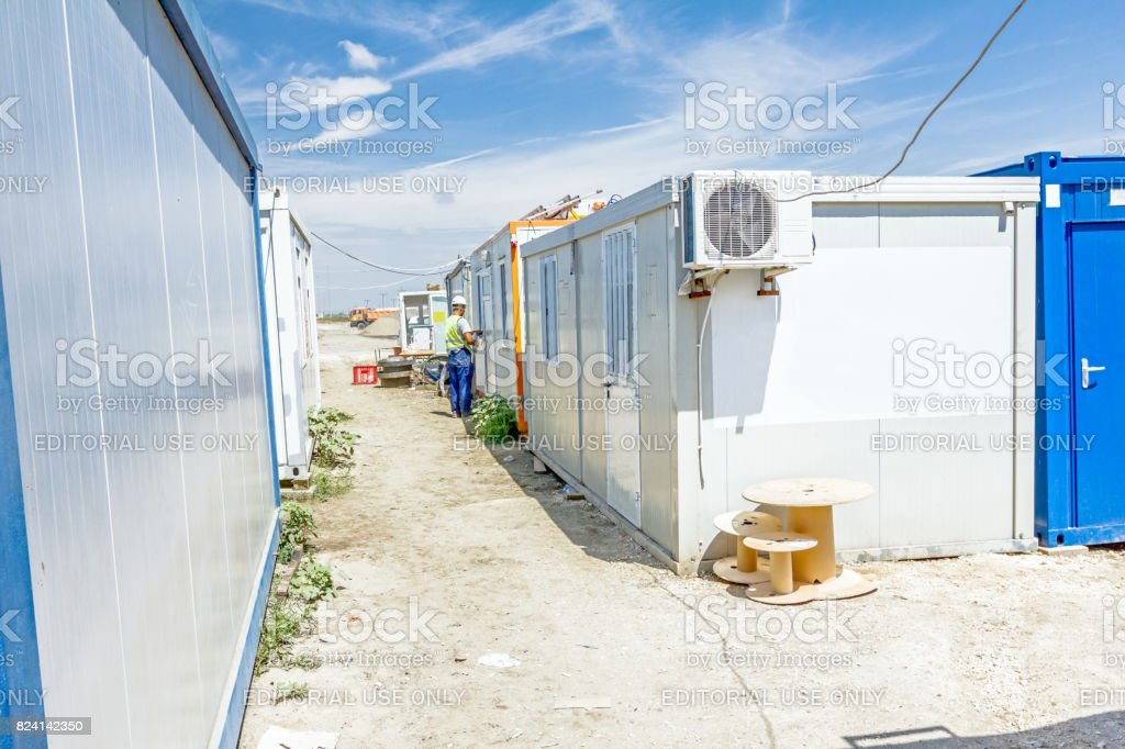 Group of container office is placed at construction site stock photo