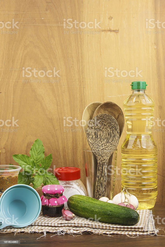 Group of  cooking set against wooden background royalty-free stock photo