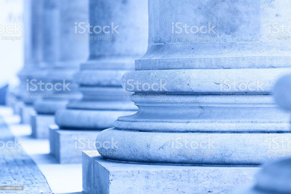 group of corporate blue business columns stock photo