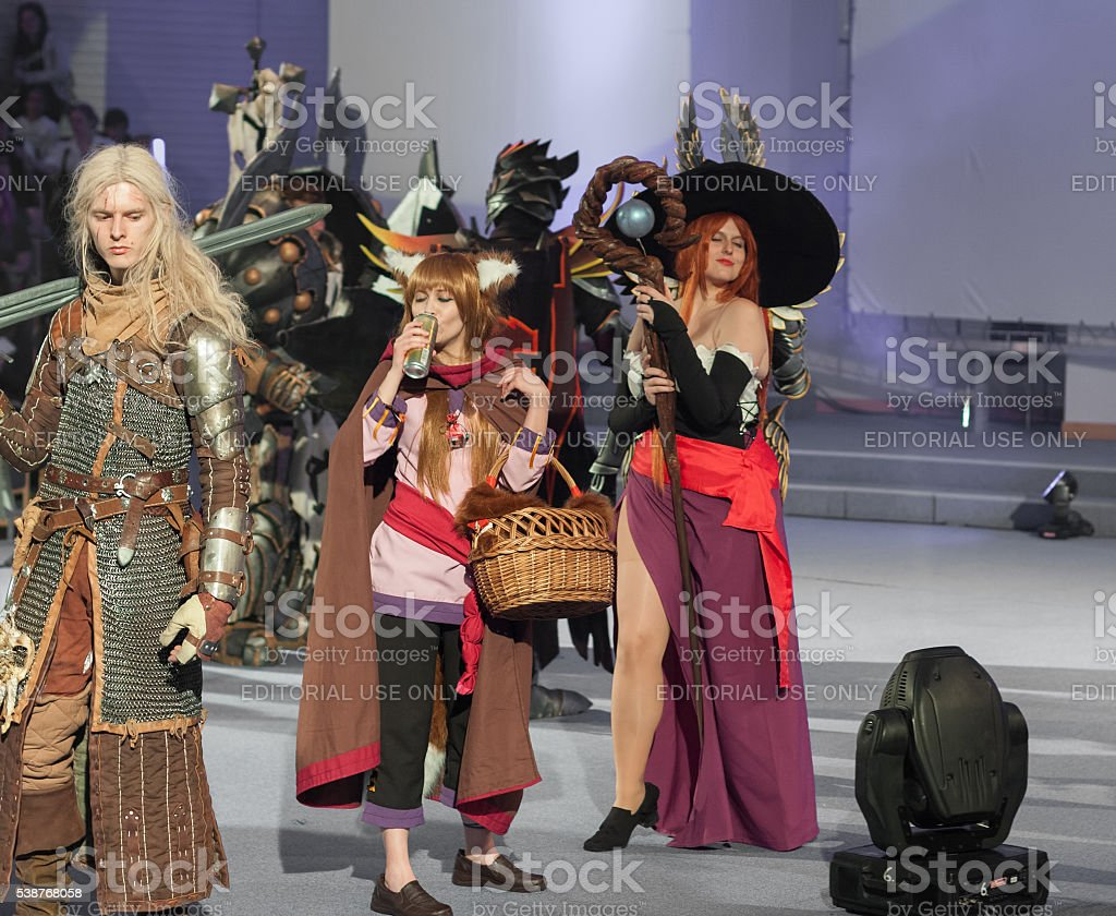 Group of cosplayers pose during cosplay contest  at Animefest stock photo