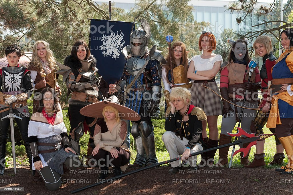 Group of cosplayers poses  at Animefest, anime convention stock photo