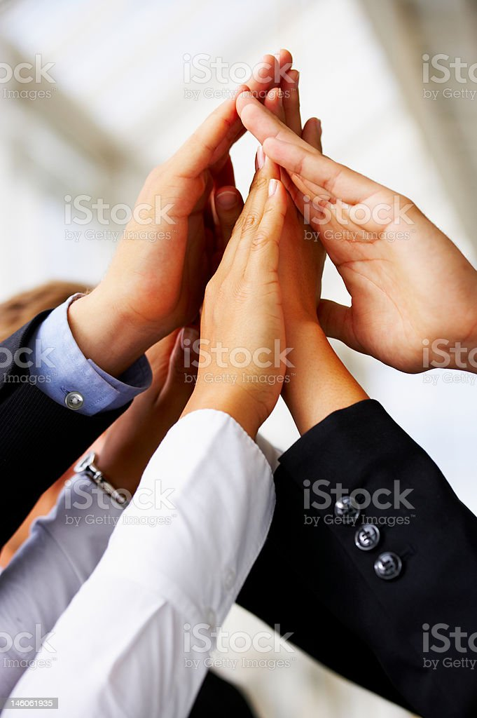 Group of creative hands joined together royalty-free stock photo