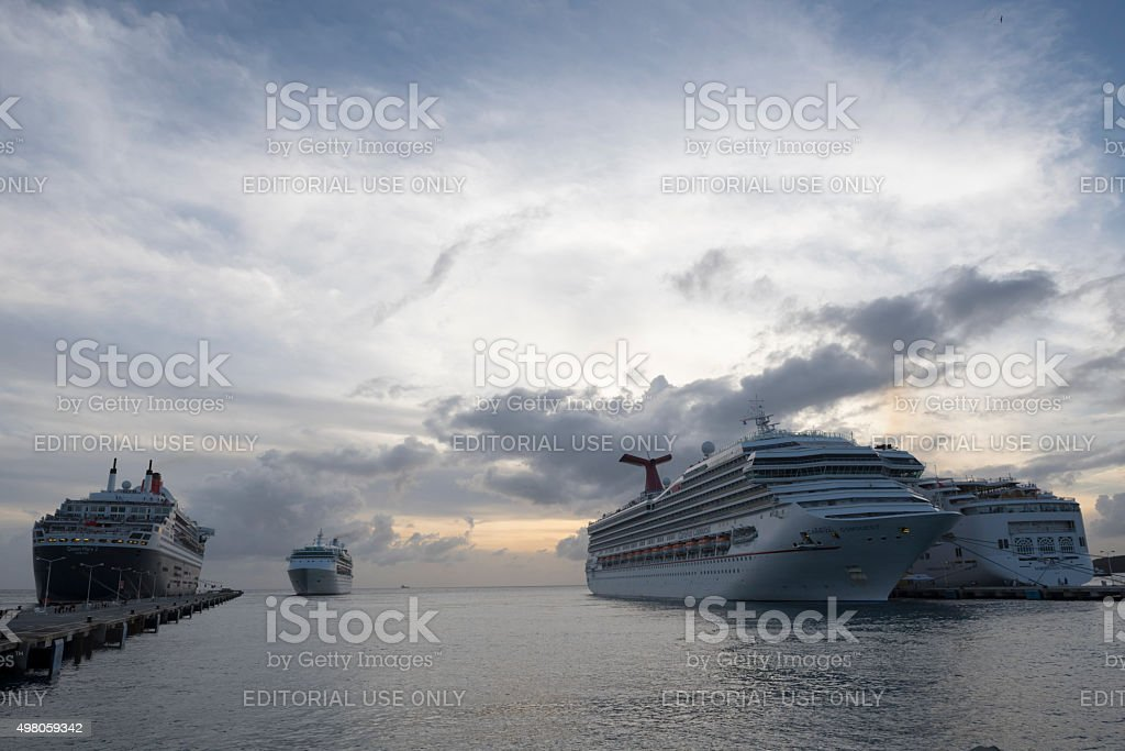 Group of cruise ships in St. Maarten stock photo