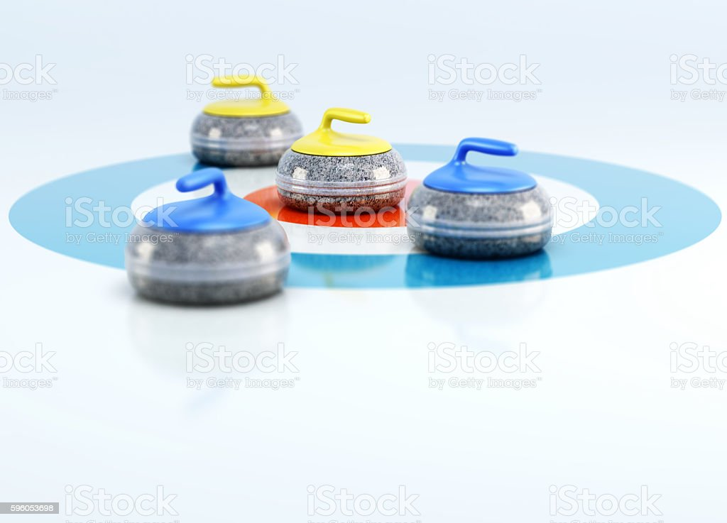 Group of curling stones in the center stock photo