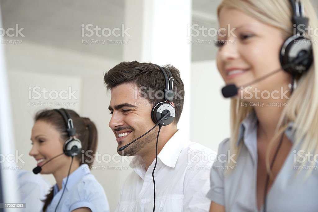 Group of customer service operators stock photo
