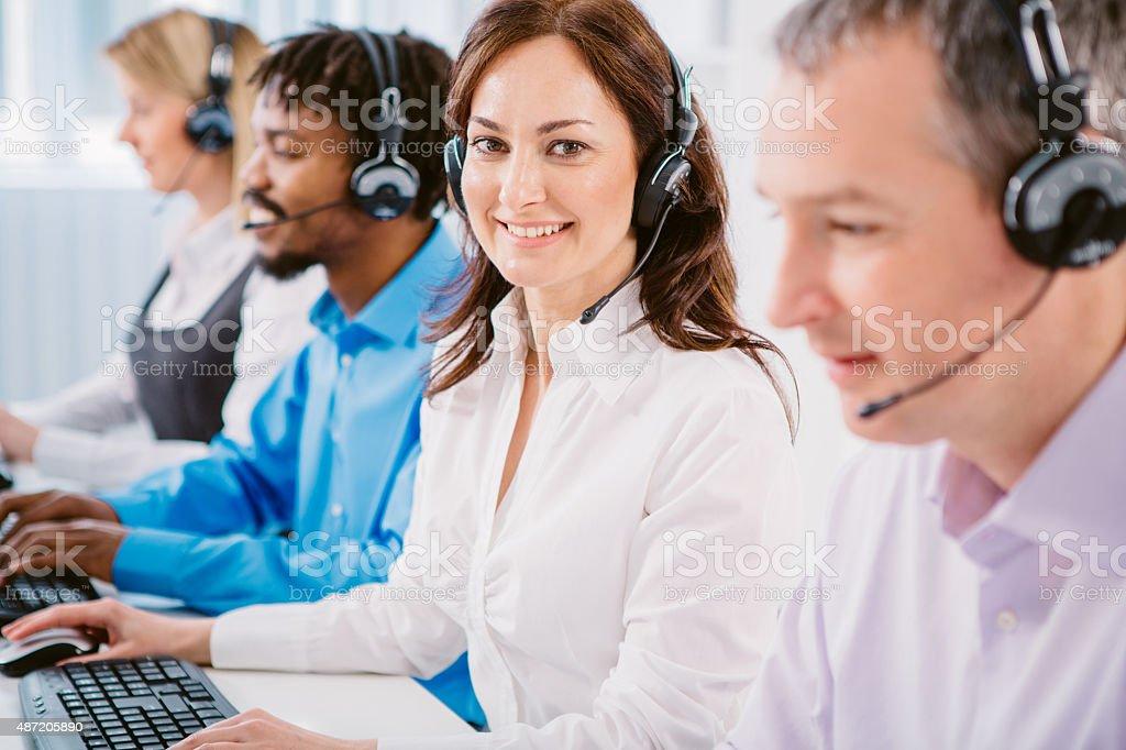 Group of customer service representatives. stock photo