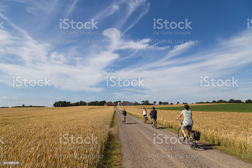 Group of cyclist on the countryside stock photo