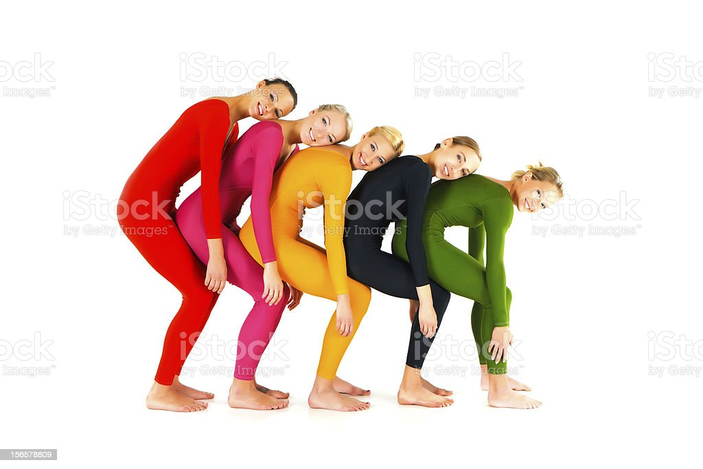 Group of dancers posing royalty-free stock photo