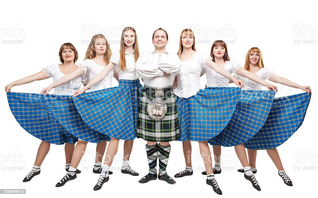 Group of dancers Scottish dance stock photo