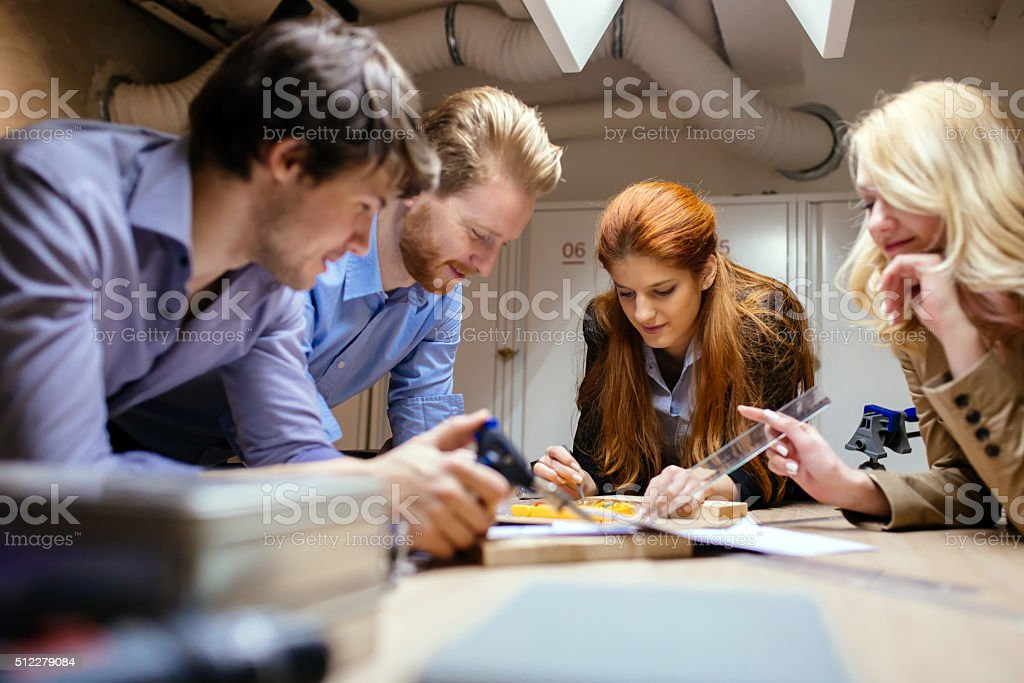 Group of designer working on project stock photo