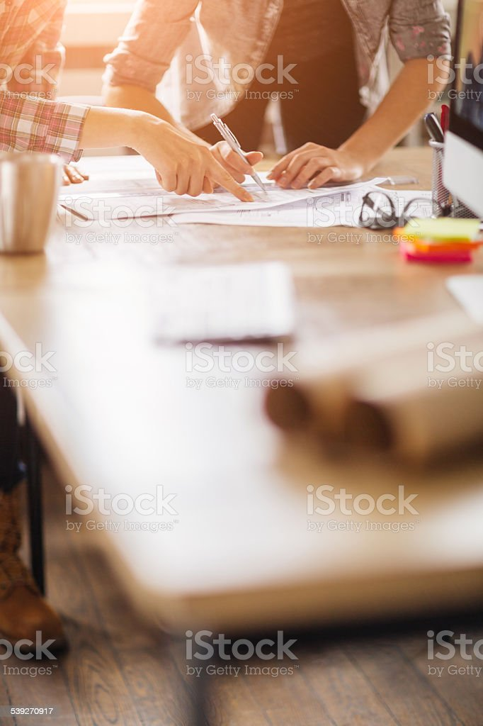 Group of designers working together stock photo