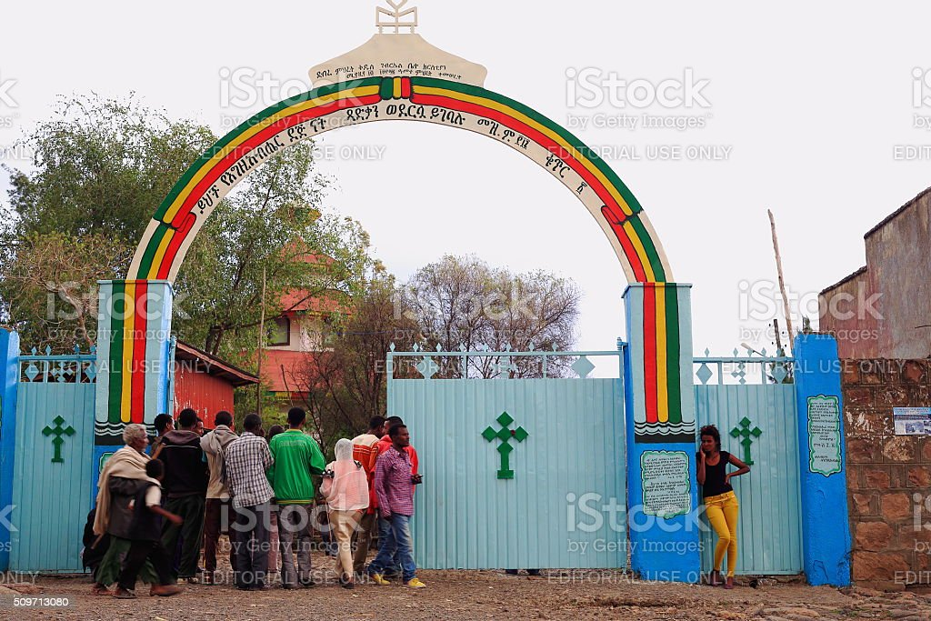Group of devotees entering the church. Kombolcha-Ethiopia. 0076 stock photo