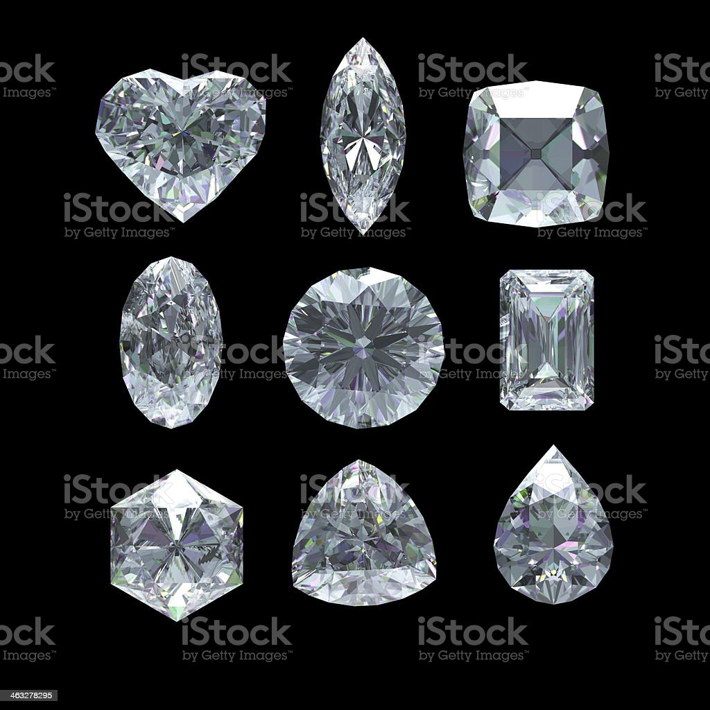 Group of diamond shape with clipping path stock photo