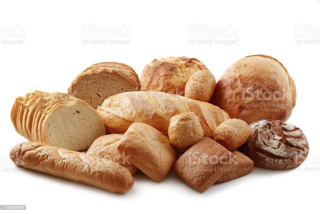 Group of different bread products stock photo