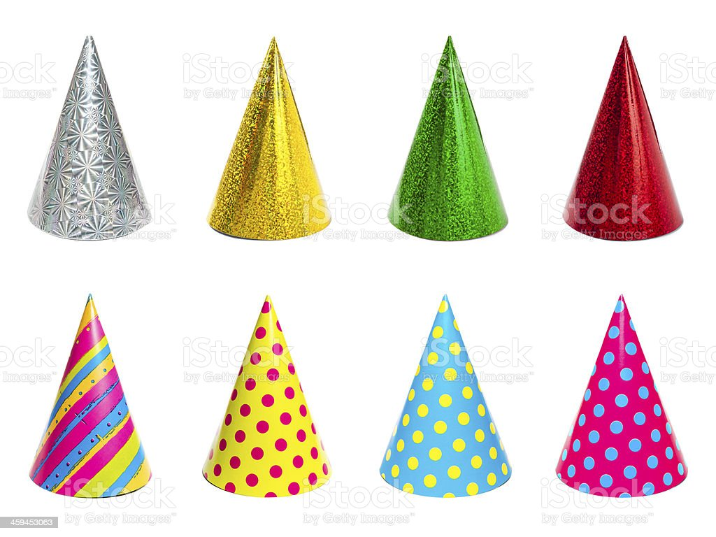 Group of different colorful party hats isolated on white background stock photo