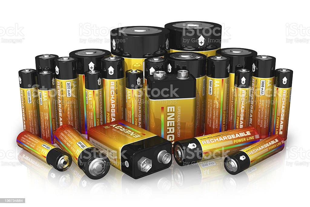 Group of different size batteries stock photo