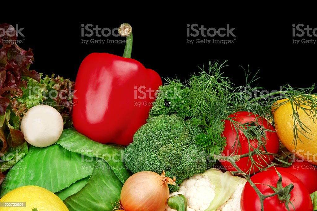 Group of different vegetables on black stock photo