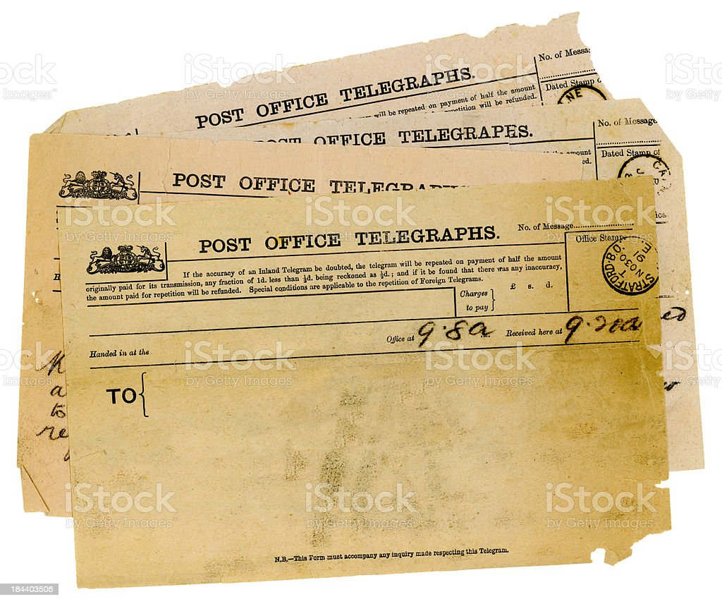 'Group of Victorian telegrams, top one blank' stock photo