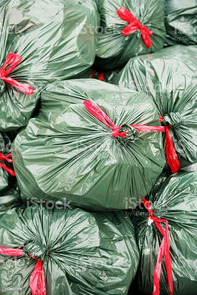 A group of disposable rubbish bags royalty-free stock photo