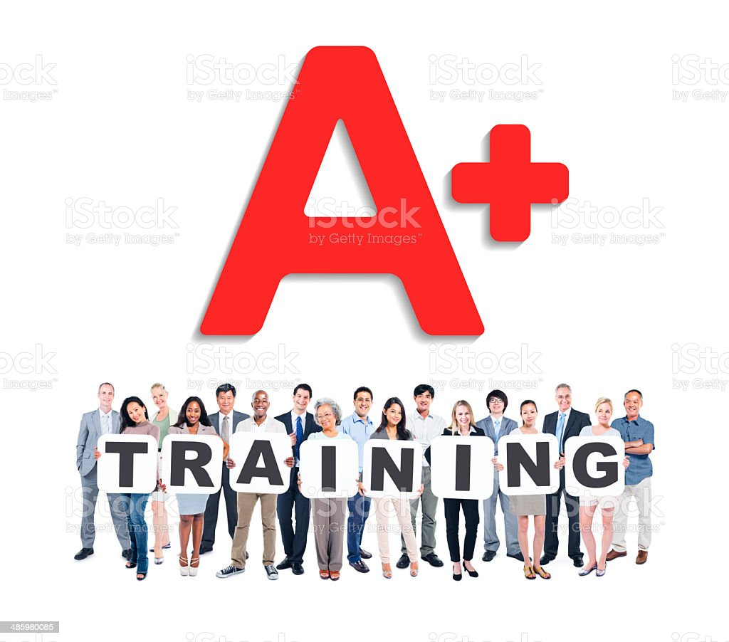 Group Of Divers People Holding Letters Forming Training stock photo