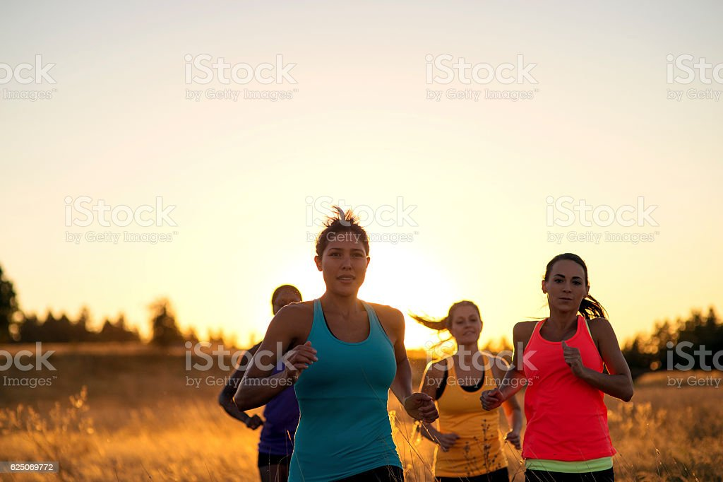 Group of diverse adult female trail runners during sunset stock photo