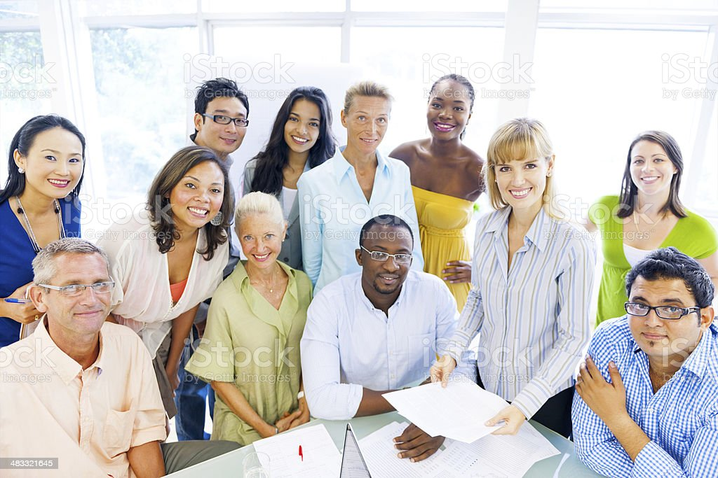 Group of Diverse Business Colleagues Enjoying Success stock photo