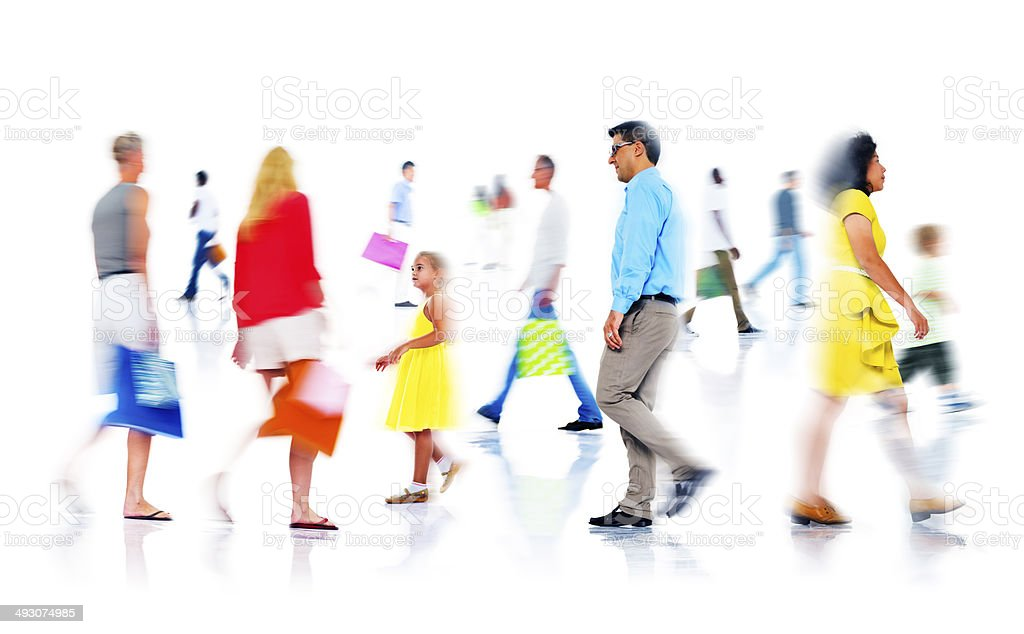 Group of Diverse Busy People Shopping royalty-free stock photo