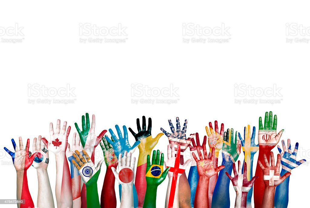 Group of Diverse Flag Painted Hands Raised stock photo