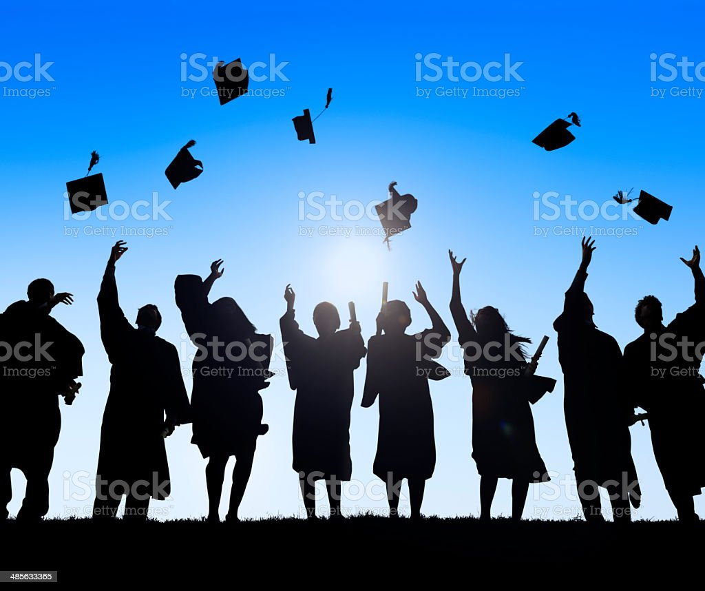 Group Of Diverse International Students Celebrating Graduation stock photo