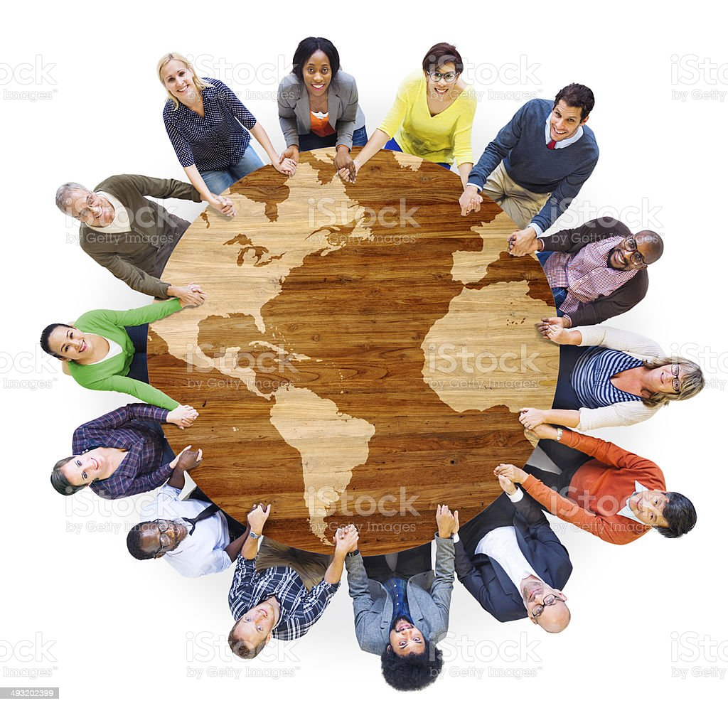 Group of Diverse Multiethnic People Holding Hands stock photo