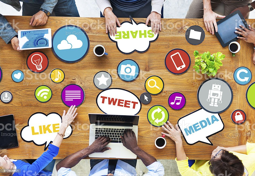 Group of Diverse People Discussing about Social Media stock photo