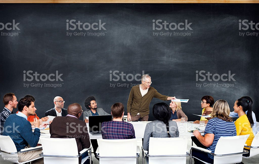 Group of Diverse People Listening to the Speaker stock photo