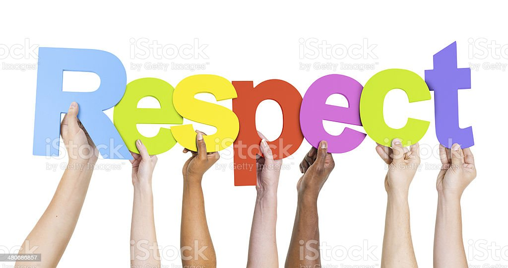 Group of Diverse People's Hands Holding Word Respect stock photo
