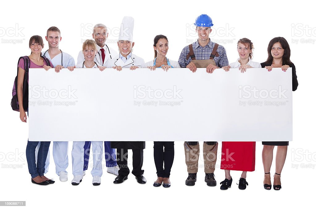Group of diverse professional people with a banner royalty-free stock photo
