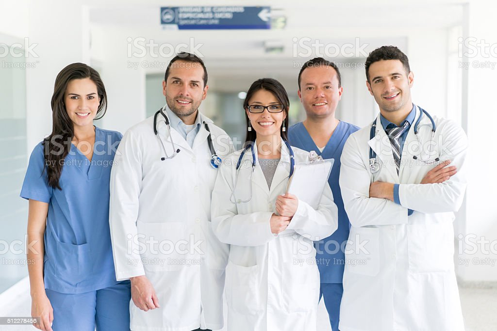 Group of doctors at the hospital stock photo