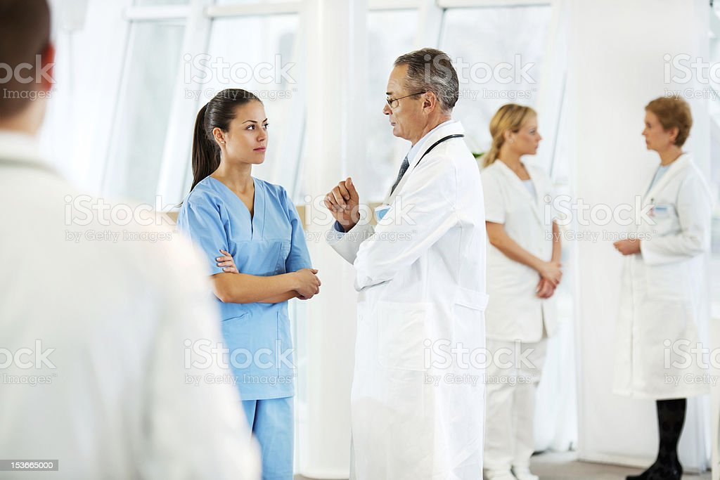 Group of doctors discussing medical case. royalty-free stock photo