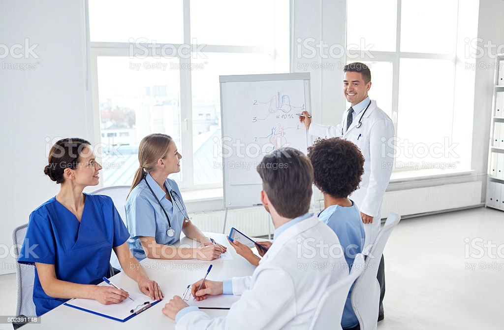 group of doctors on presentation at hospital stock photo