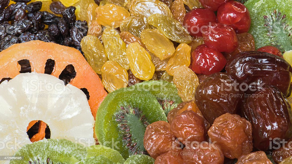 Group of dried fruits stock photo