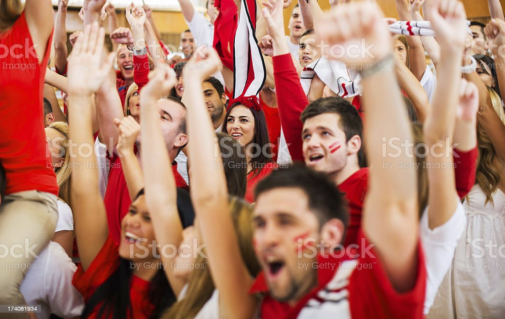 Group of ecstatic sport fans cheering. stock photo