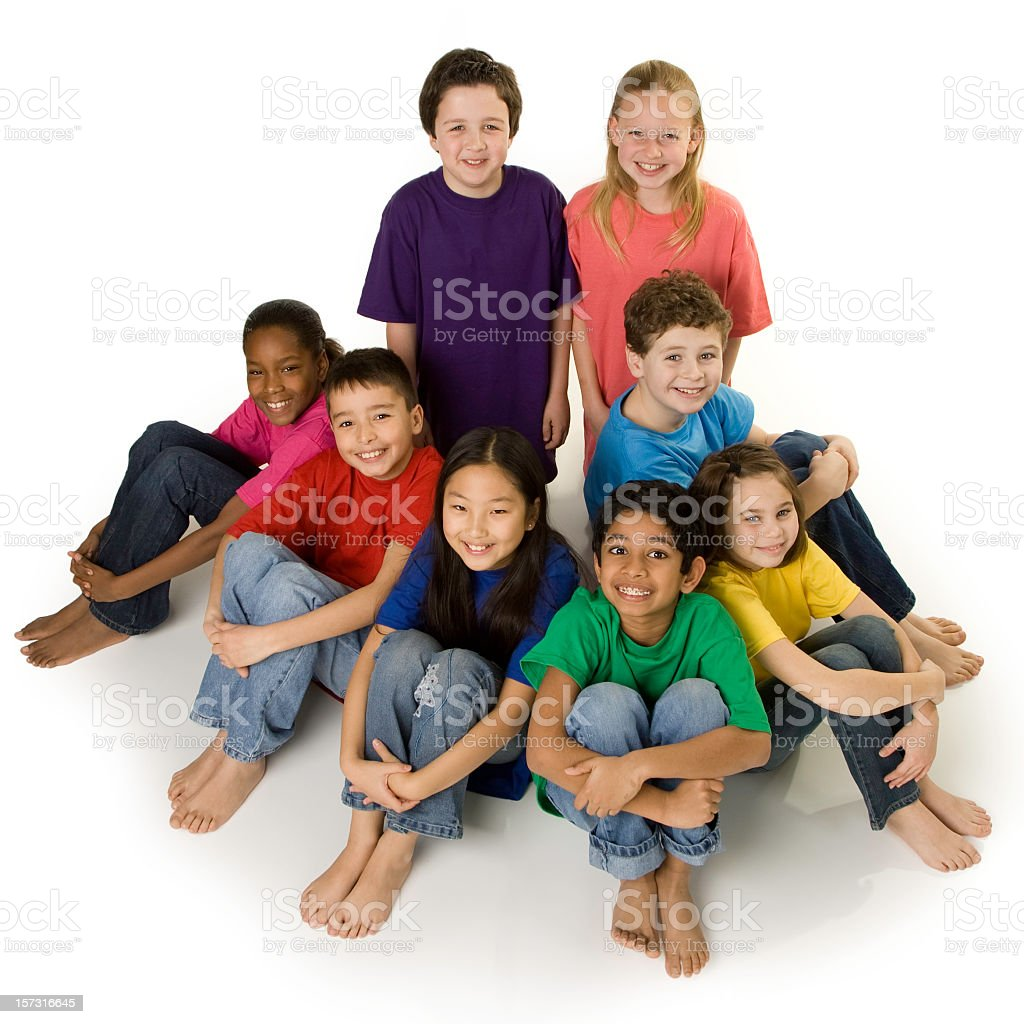 A group of eight diverse children  royalty-free stock photo