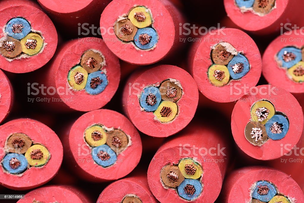 Group of electric cables stock photo