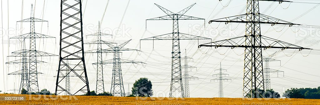 group of electric power poles stock photo