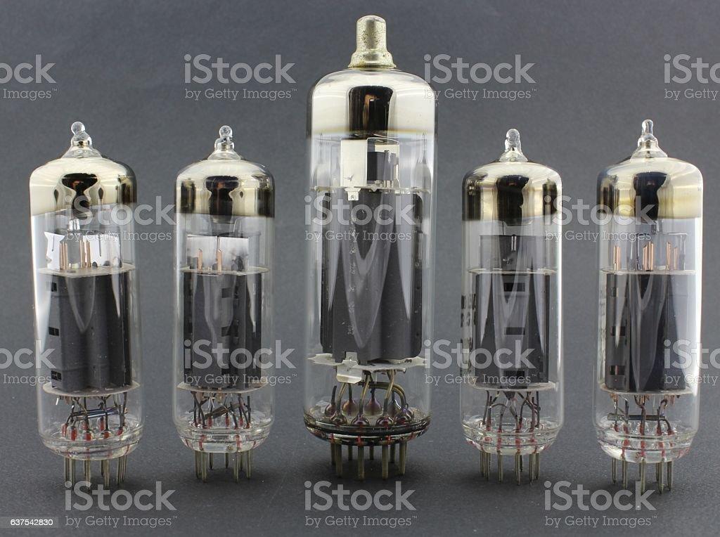 Group of electronic radio tubes stock photo