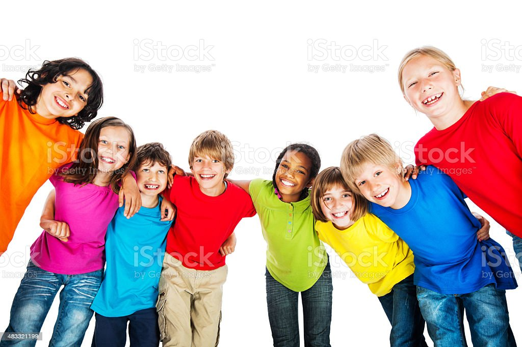 Group of embraced kids in colorful t-shirts. royalty-free stock photo