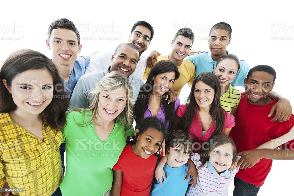 Group of embraced people. stock photo