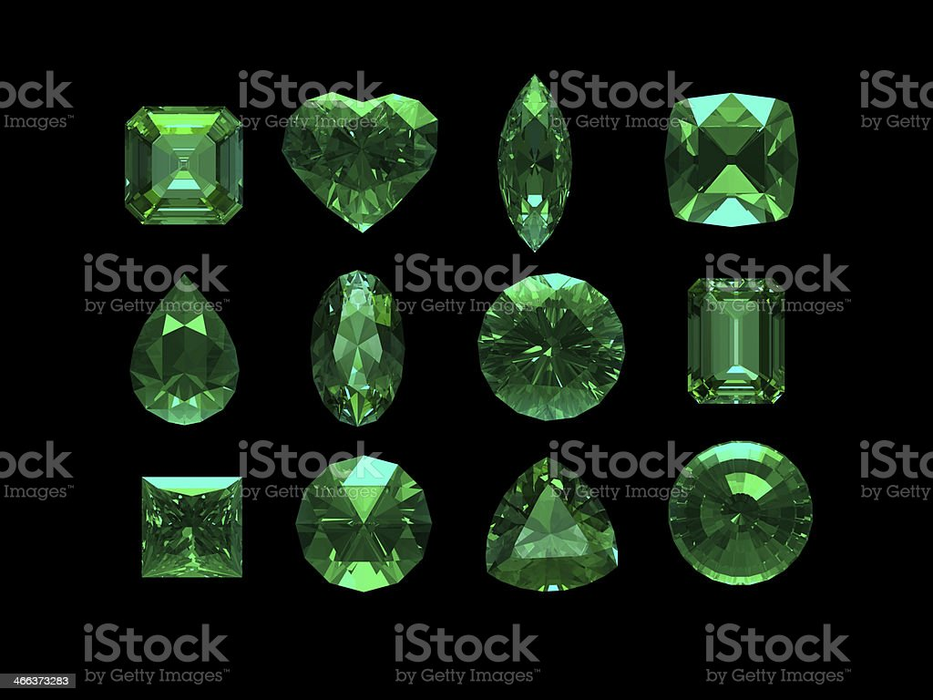 group of emerald shape with clipping path stock photo